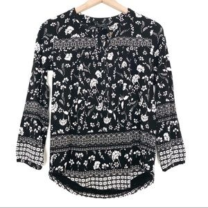 NWT | Lucky Brand | Black & White Floral Boho Top